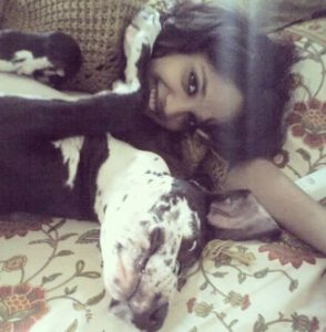 Mumtaz Sorcar with her pet dog