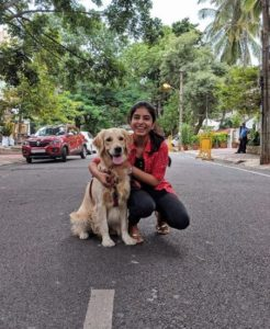Siddhi Mahajankatti with her pet dog