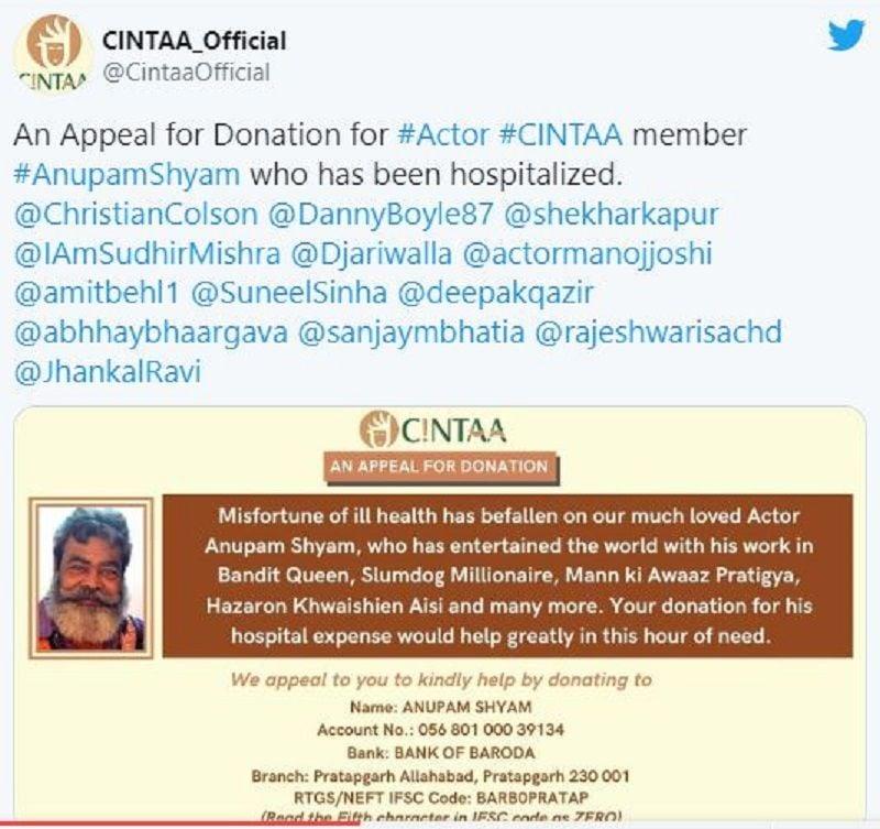 A Tweet By CINTAA for Anupam Shyam's Help