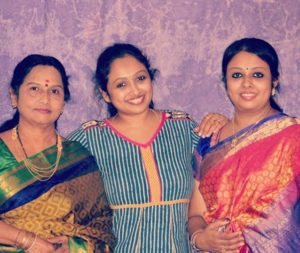 Jayashree Rao with her mother and sister
