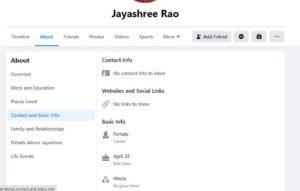 Jayashree Rao's Facebook Profile