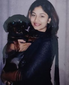 Manjula Paritala with her pet dog