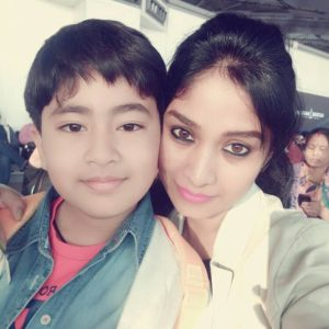 Manjula Paritala with her son
