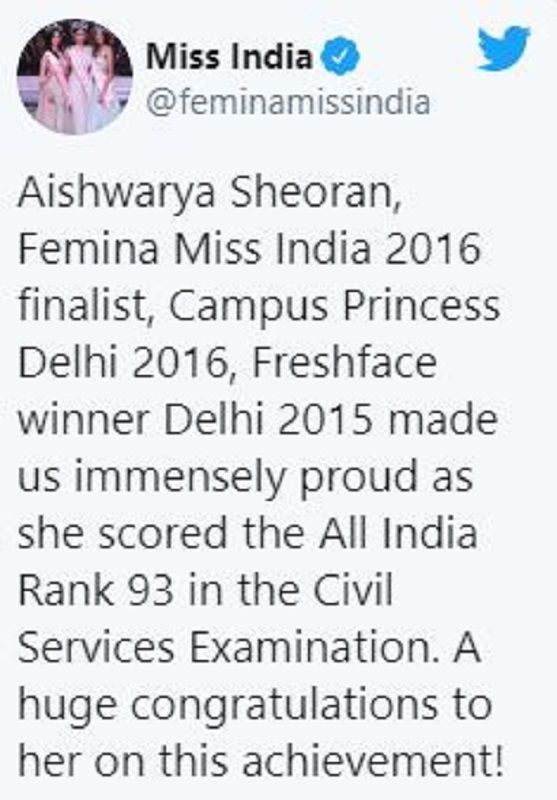 A Tweet for Aishwarya Sheoran