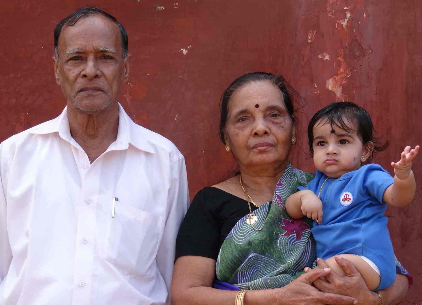 Aakshath Das with his grandparents