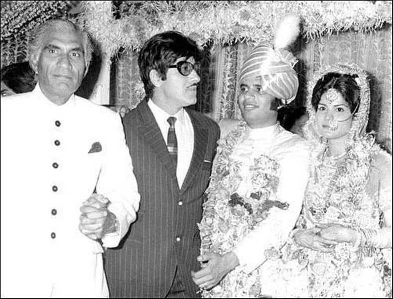 B.R. Chopra with Raaj Kumar at Ravi and Renu Chopra's wedding