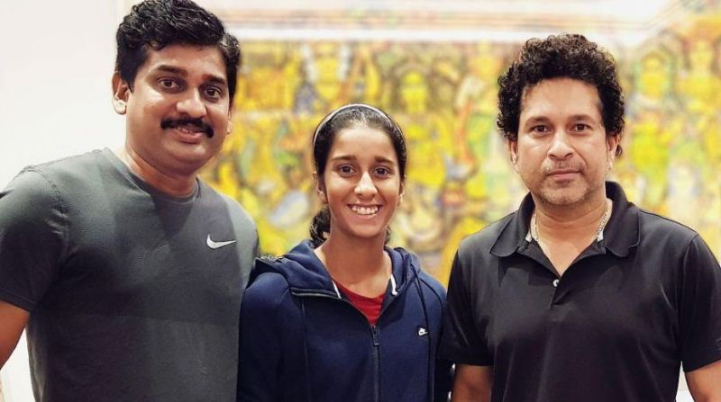 Jemimah Rodrigues with her father, Ivan Rodrigues and Sachin Tendulkar
