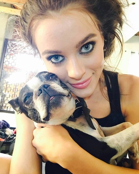 Lana Rhoades with her dog