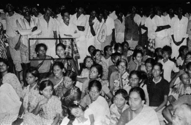 A picture taken by cameraman Haribabu captured Nalini and Subha sitting in the crowd