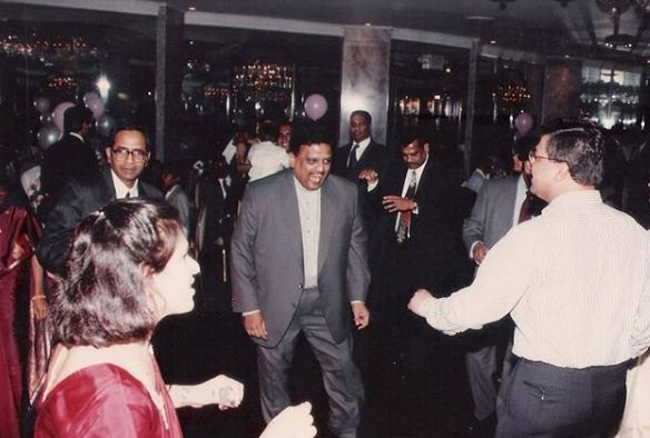 S. P. Balasubrahmanyam dancing to his tunes during a party