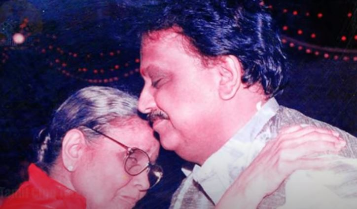 S. P. Balasubrahmanyam with his mother