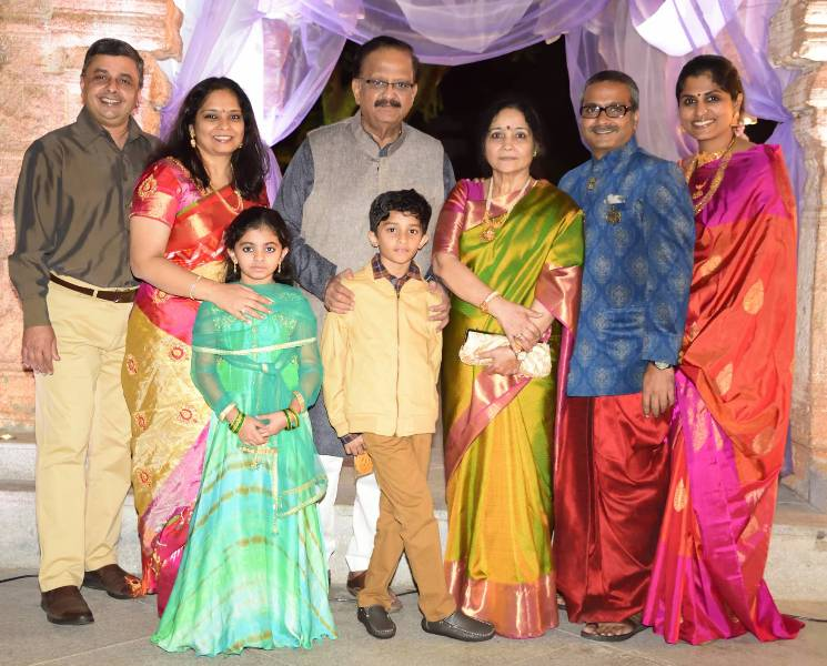 Savithri with her husband S. P. Balasubrahmanyam and other family members
