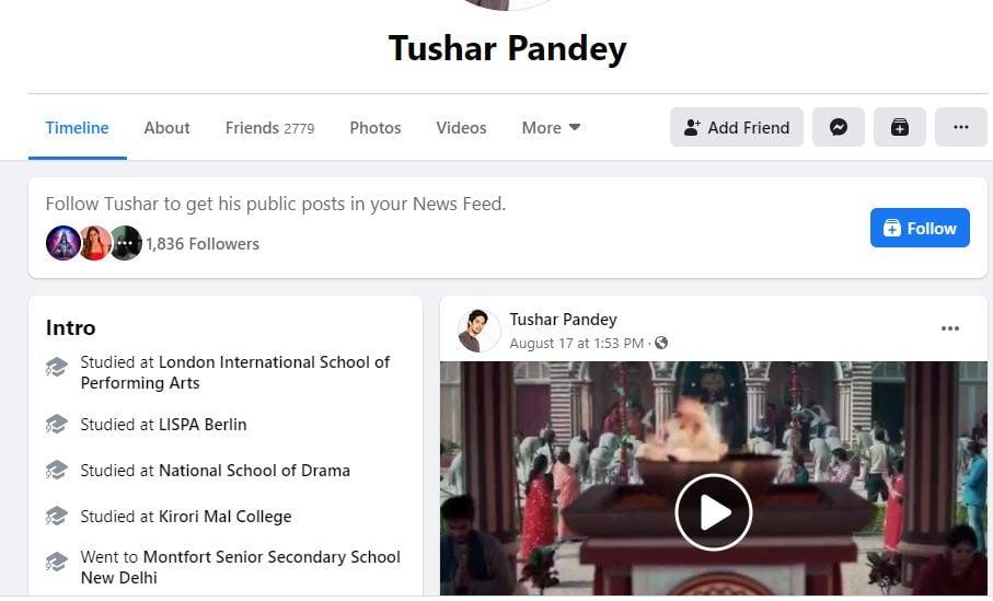 Tushar Pandey's Facebook Profile