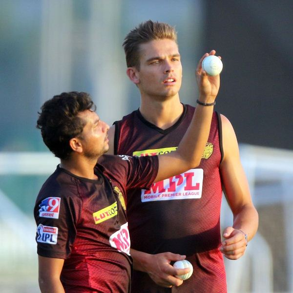 Chris Green getting bowling form tips from Kuldeep Yadav during practice sessions