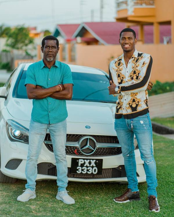 Keemo Paul with his father, David Paul with his car