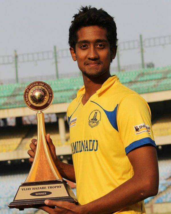 R Sai Kishore with the Vijay Hazare Trophy after winning the game