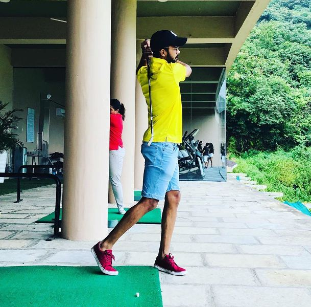 Ruturaj Gaikwad playing golf at a golf club