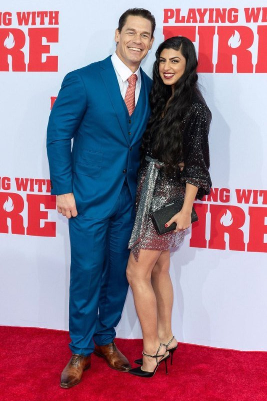 Shay Shariatzadeh and John Cena during a red carpet event