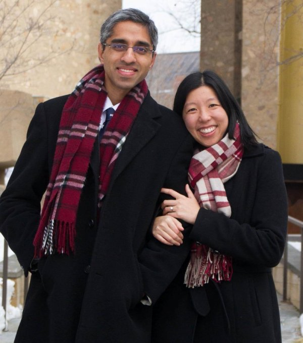 Dr Vivek Murthy with his wife Dr Alice Chen