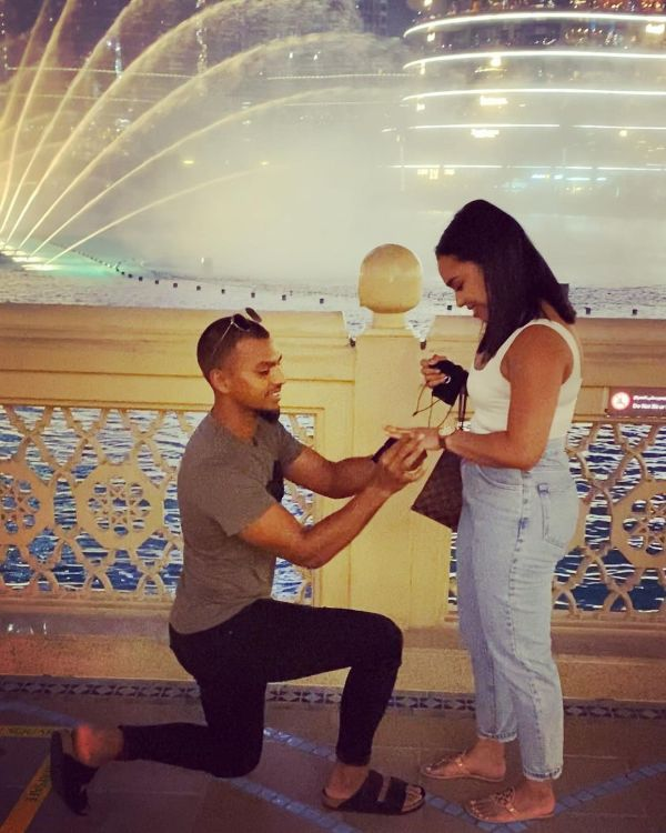 Nicholas Pooran with his fiancee Alyssa Miguel