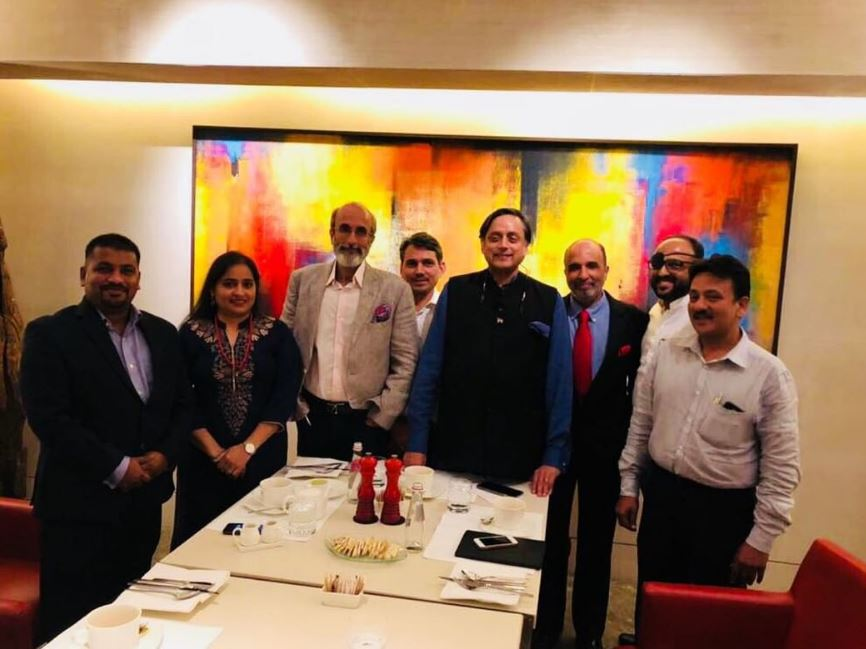 Sanjay Jha with Shashi Tharoor and the All India Professionals Congress Team