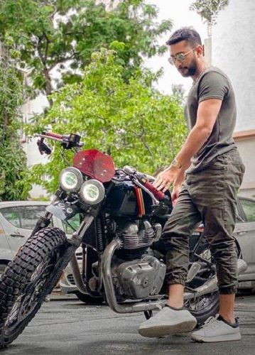 Zaid Darbar With His Motorcycle