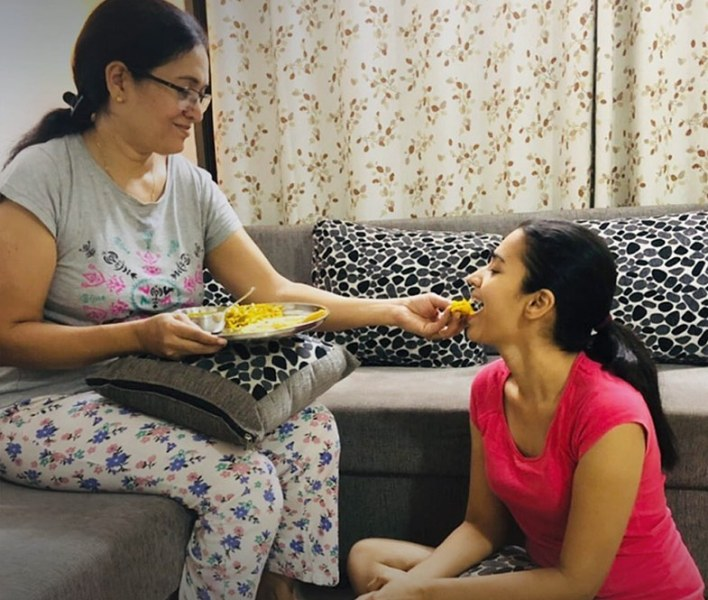 Anjali Barot with her mother