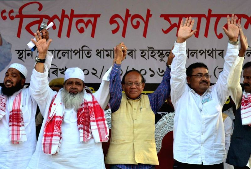 Badruddin Ajmal in an AIUDF rally