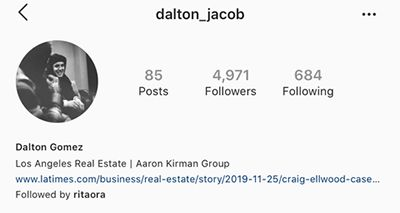 Dalton Gomez Instagram Page Showing his Name