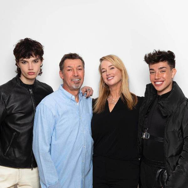 Family photograph of James Charles with his parents and brother