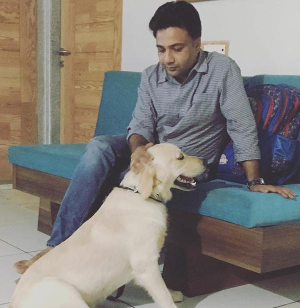 Hemant Kher with his dog Barry