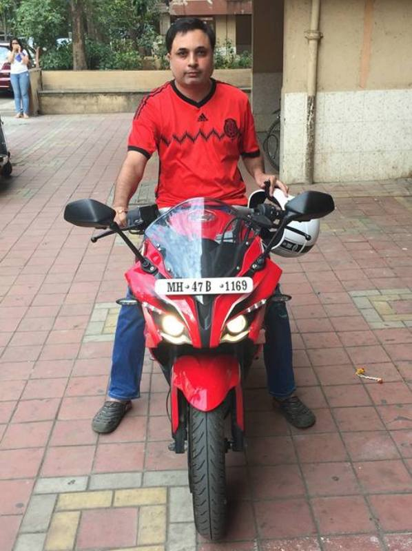 Jay Upadhyay on his bike
