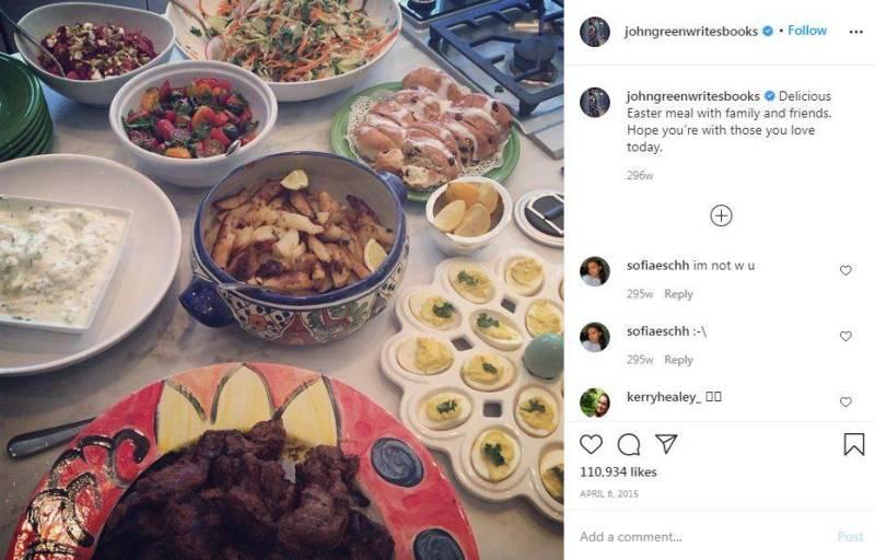 John Green's instagram post of enjoying non-vegetarian meal