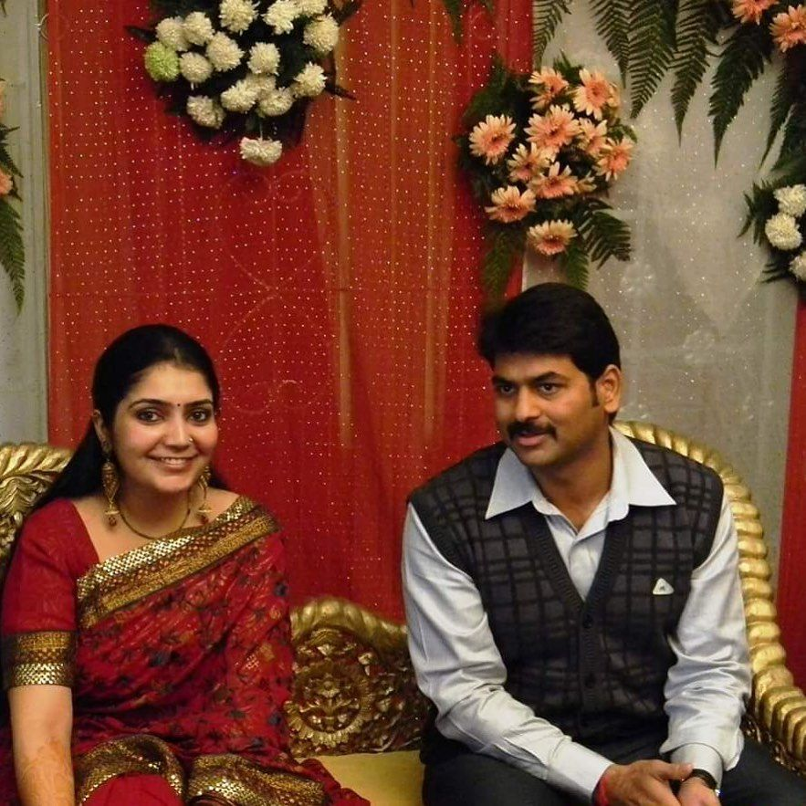 Saurabh Dwivedi with his wife Gunjan on their engagement day