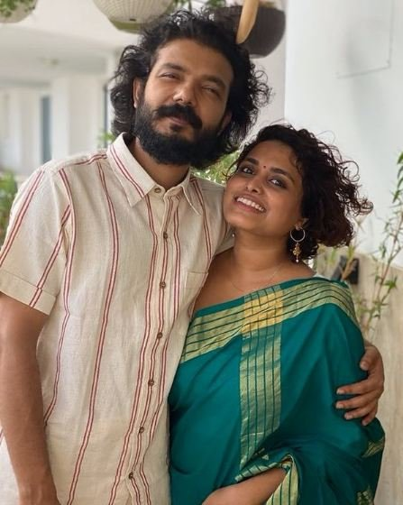 Sreenath Bhasi with his wife