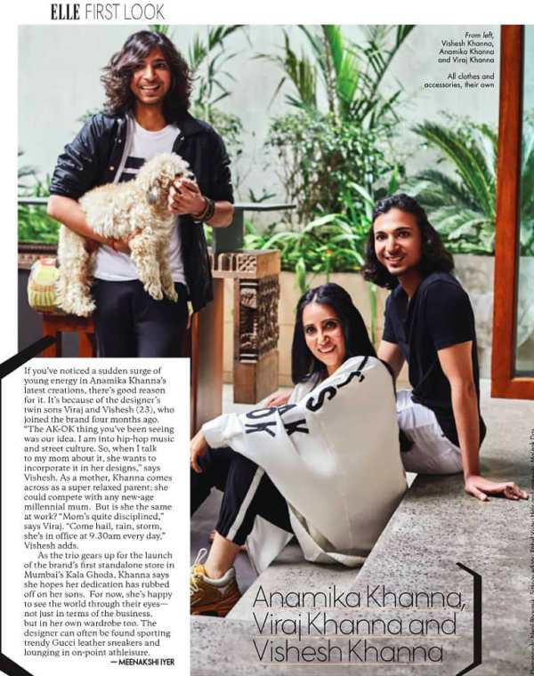 A picture of Anamika Khanna with her sons in Elle magazine