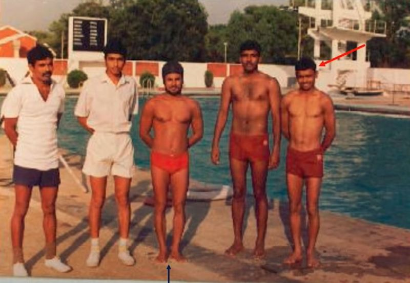 A picture of Senger (first from the right) days after he was introduced to swimming