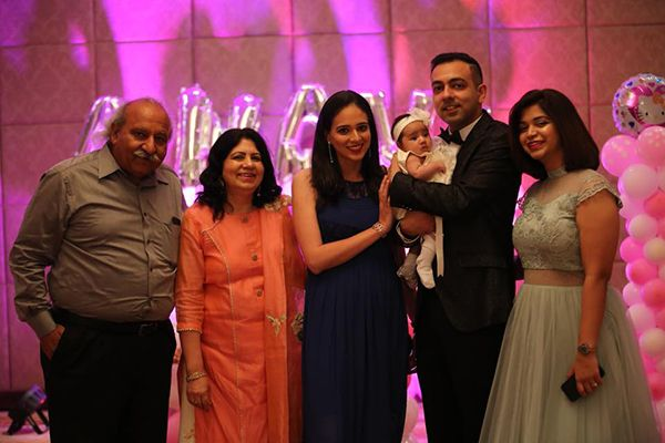Anoop Khanna with his wife and children