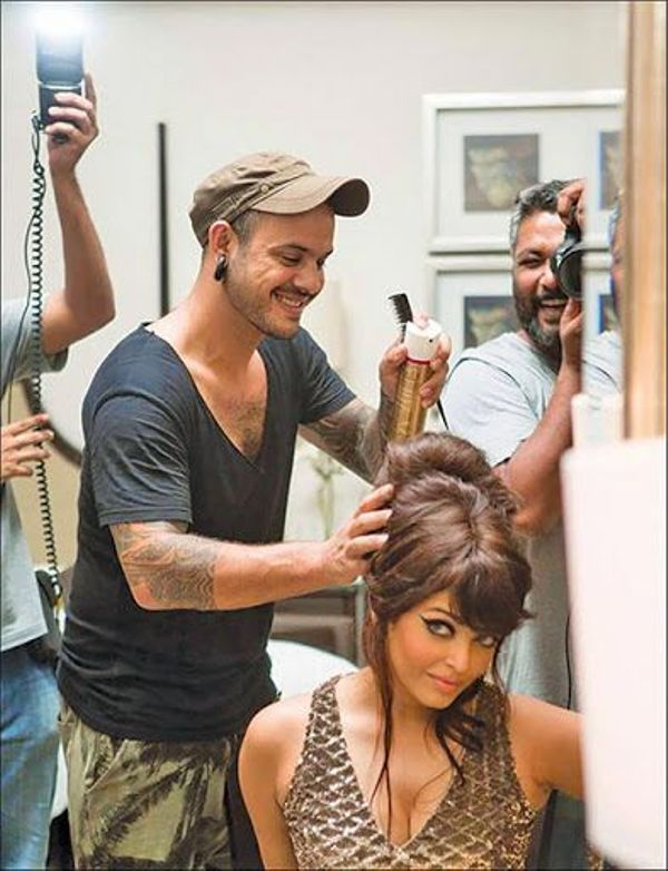 Danial Bauer preparing Aishwarya Rai Bachchan for Noblesse photoshoot