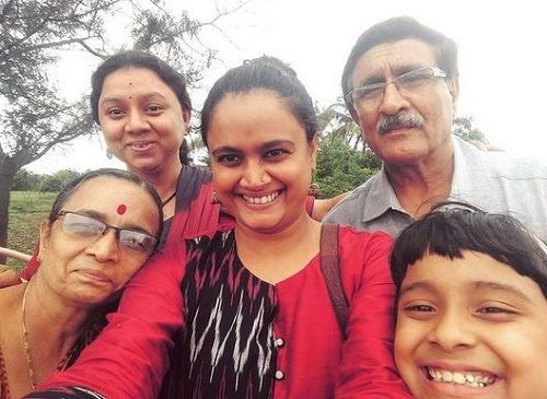 Kalyanee Mulay with her parents and sister
