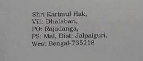 Karimul Hak's address