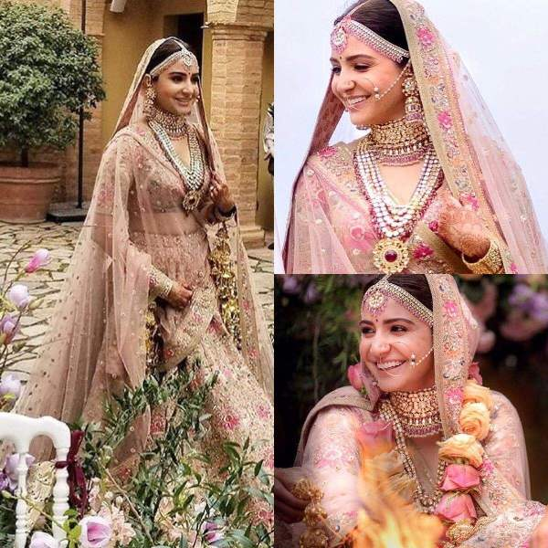 Makeup and hairstyle did by Puneet B Saini of Anushka Sharma for her wedding