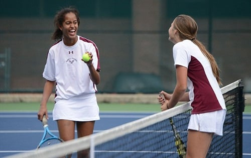 Malia Obama playing tennis with her friend in school
