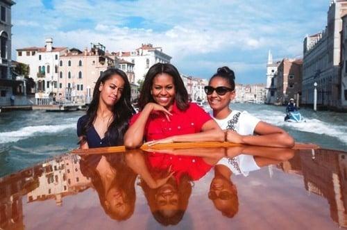 Malia Obama with her mother, Michelle Obama and sister, Sasha Obama in Venice
