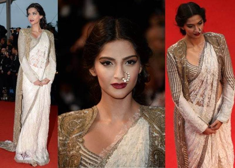 Sonam Kapoor's makeup and hairstyle was done by Namrata Soni at Cannes 2013