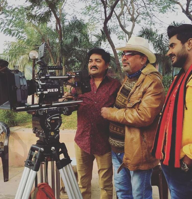 Pappu Khanna on the set of a film