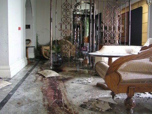 The blood stained floor of Taj Mahal Palace Hotel after the 26-11 attack