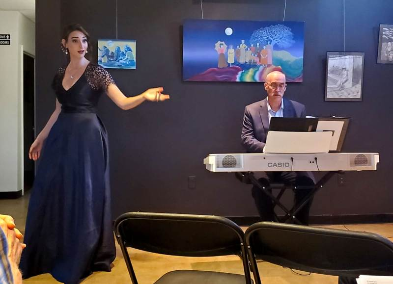 Abigail Shapiro performing opera with her father