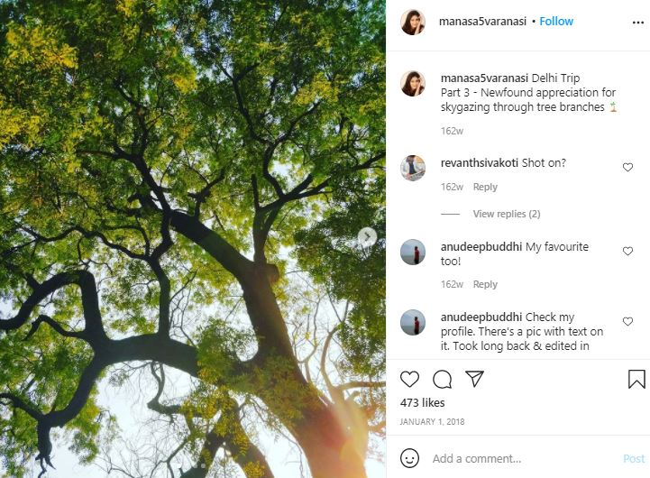 Manasa Varanasi's Instagram post about skygazing