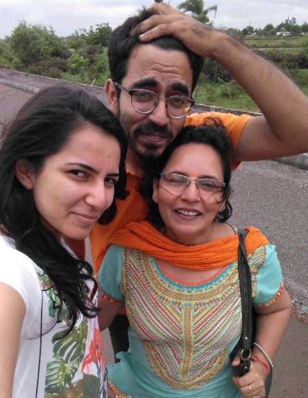 Pranjal Kamra with his mother and sister